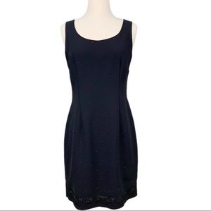 ANN TAYLOR Dress Black Embroidered Sheath Party 6